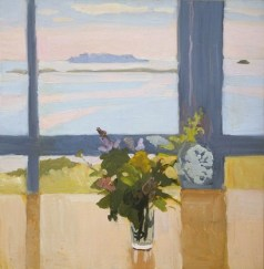 """Flowers by the Sea"" (1965, oil on composition board) by Fairfield Porter"