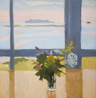 """""""Flowers by the Sea"""" (1965, oil on composition board) by Fairfield Porter"""