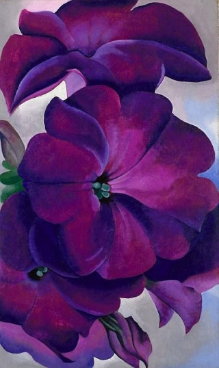 """Petunias"" (1925, oil on hardboard panel) by Georgia O'Keeffe"
