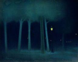 """A Park at Night"" (1892-95) by József Rippl-Rónai"