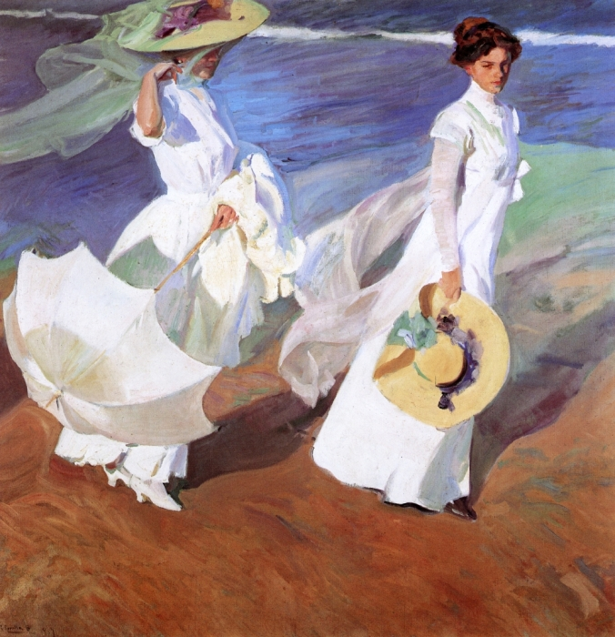 Joaquin Sorolla y Bastida 1909 oil on canvas Promenade by the Sea