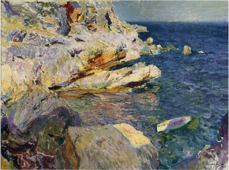 Joaquin Sorolla y Bastida Rocks and white boat, Javea 1905 oil on canvas