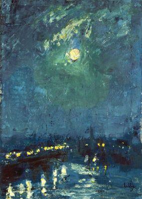 """""""Brucke im Mondschein, London"""" (1926) by Lesser Ury"""