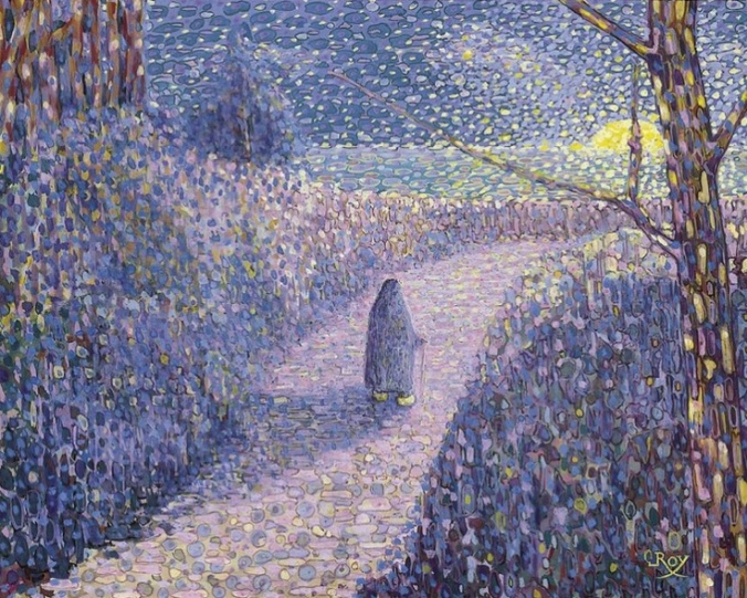 Louis-Georges-Eleonor Figure in the Moonlight 1887 gouache on paper