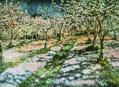 """Bloomy Apple Garden"" (1936) by Nikolay Bogdanov-Belsky"