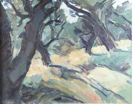 """Olive Trees at Claviers"" (nd, oil on canvas)"