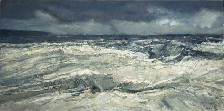 """Rain, Rainbow and Stormy Sea"" (1974, oil on canvas)"
