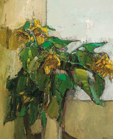 """Sunflowers"" (1958-59, oil on board) by Peter Coker"