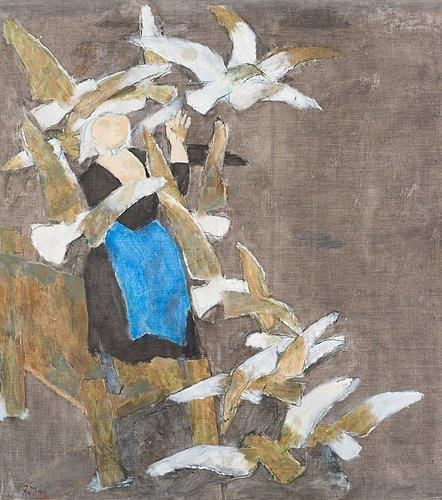 Ragnar Sandberg White Birds on Dark Background 1968 canvas
