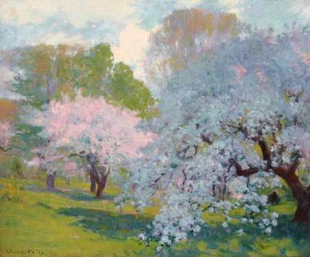"""The Orchard"" (nd, oil on canvas) by Robert William Vonnoh"