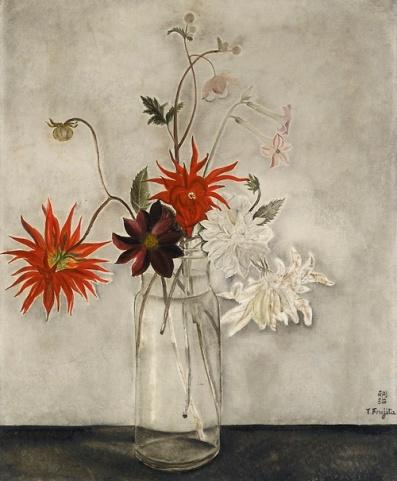 """Les Dahlias"" (1921, oil on canvas) by Tsuguhara Foujita"