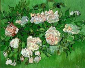 """""""Pink Roses"""" (1890, oil on canvas) by Vincent van Gogh"""