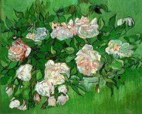 """Pink Roses"" (1890, oil on canvas) by Vincent van Gogh"