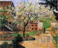 """Flowering Plum Tree, Eragny"" (1894, oil on canvas)by Camille Pissarro"