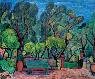 """Benches in the Courtyard of the Villa le Lagore (1963)"
