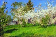 """Apple Trees in Blossom"" (1896)by Isaac Levitan"