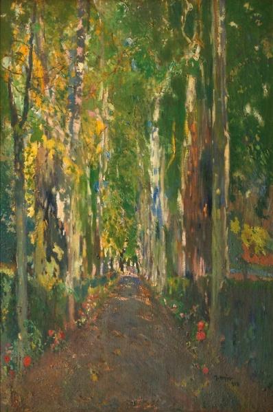 Joaquim mir Trixnet Camino de la Casa Guell aka The Path to Casa Guell 1918 oil on canvas