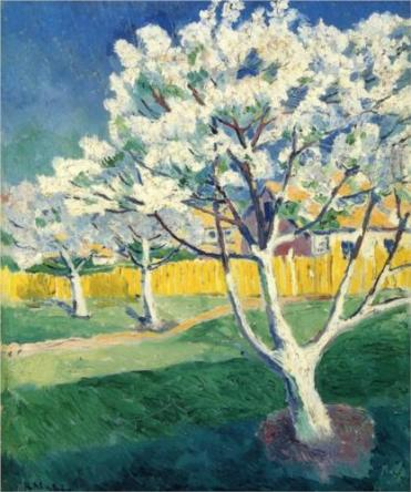 """Apple Tree in Blossom"" (nd, oil on canvas)by Kazamir Malevich"