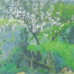 """Apple Tree after Rain"" (1906)by Mikhail Larionov"