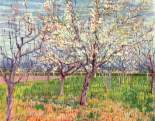 """Orchard with Blossoming Trees"" (1888, oil on canvas)by Vincent van Gogh"