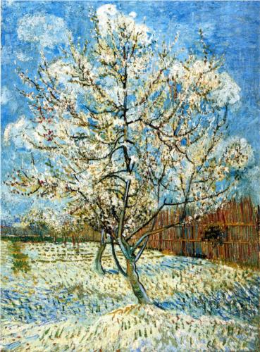 """Peach Trees in Blossom"" (1888, oil on canvas)by Vincent van Gogh"