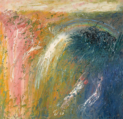 Arthur Boyd Nebudchadnezzar, Rainbow and Waterfall 1967 oil on canvas