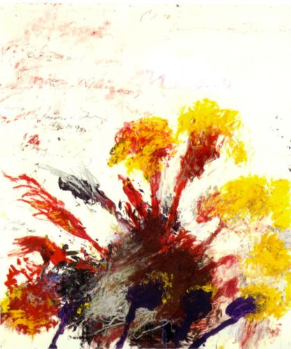 """""""Summer Madness"""" (1990, Oil, gouache, pencil and crayon on paper)by Cy Twombly"""