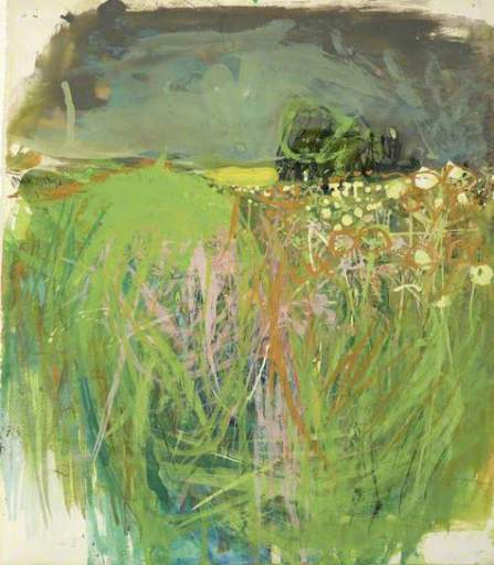 """Hedgerow with Grasses and Flowers"" (c1962-63, gouache oil on paper)"