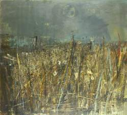 """Seeded Grasses and Daisies, September"" (1960, oil, grass stalks, and seedheads on hardboard)"