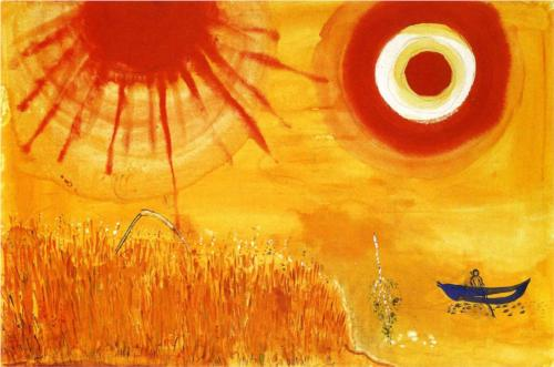 """""""A Wheatfield on a Summer's Afternoon"""" (1942, tempera on canvas) by Marc Chagall"""