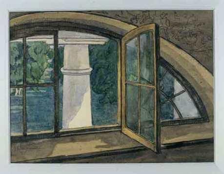 """""""A Window"""" (1912, watercolor)by Anna Ostroumova Lebedeva"""