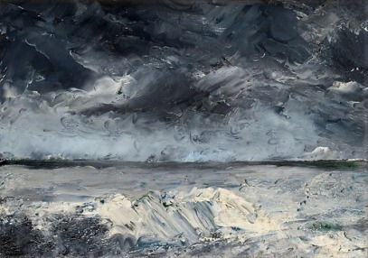 """Packis i Stranden"" (1892 oil on zinc)by August Strindberg"