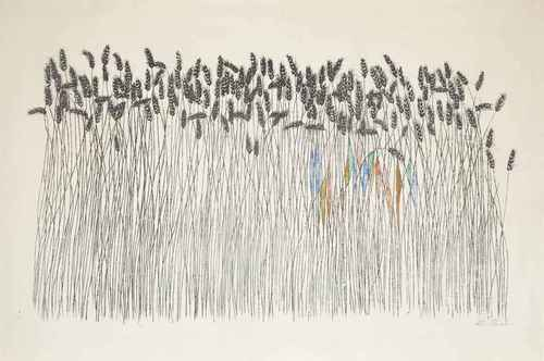 Ben Shahn Wheat Field c1958 lithograph with hand-coloring