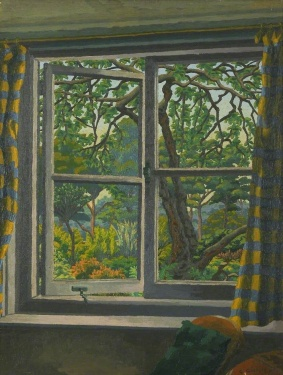 """Through a Cottage Window, Shipley, Sussex"" (1930-40, oil on canvas)by Charles Ginner"