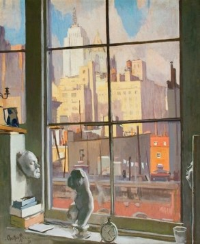 """""""View from a Studio Window, New York"""" (1931, oil on canvas)by George Oberteuffer"""
