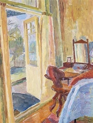 """Interior"" (c1940, oil on cardboard)by Grace Cossington Smith"