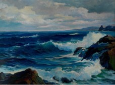 """Coastal Scene"" (c1945, oil on board)by Lester Joseph Chaney"