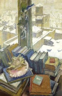 """New York Rooftops, My Window"" (1943, oil on cardboard)by Mstislav Dubozhinsky"