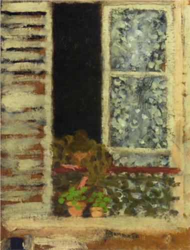 """""""Woman at her Window"""" (1895, oil on canvas)by Pierre Bonnard"""