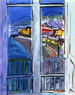 """Window on the Promenade, Des Anglais, Nice"" (1938, oil on canvas)by Raoul Dufy"