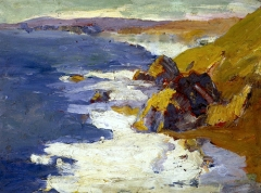 """Stinson Beach"" (1919, oil on cardboard)by Selden Connor Gile"