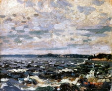 """Parry Sound Harbor"" (1914, oil on wood mounted on plywood)by Tom Thomson"