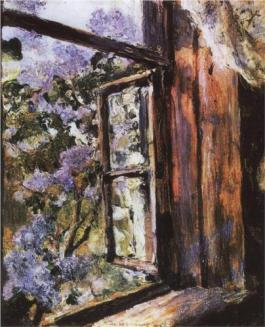 """Open Window. Lilacs"" (1886, oil on canvas)by Valentin Serov"