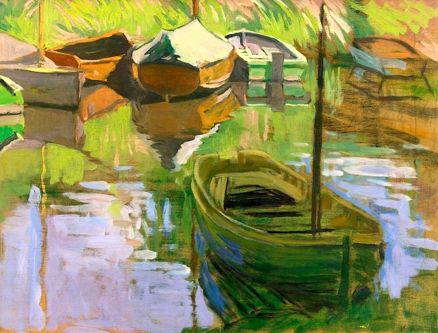 William Leech RHA Boats nd oil on board