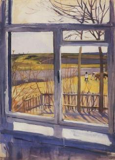"""A View from the Window"" (c1014)by Zinaida Serebriakova"