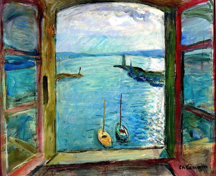 Charles Camoin Window overlooking the Port of Saint-Tropez - the Artist's Studio 1963