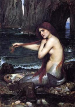 """A Mermaid"" (1900, oil on canvas)by John William Waterhouse"