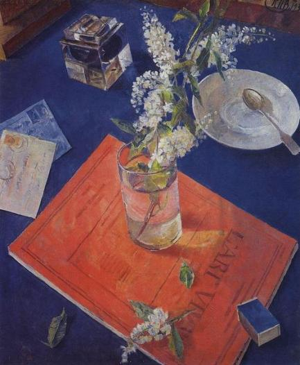"""Bird Cherry in a Glass"" (1932, oil on canvas)"