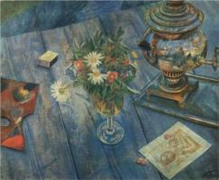 """Still Life with Samovar"" (1920, oil on canvas)"