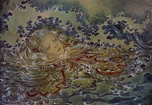 """Mermaid"" (detail, 1953, illustration)by Sulamith Wulfing"